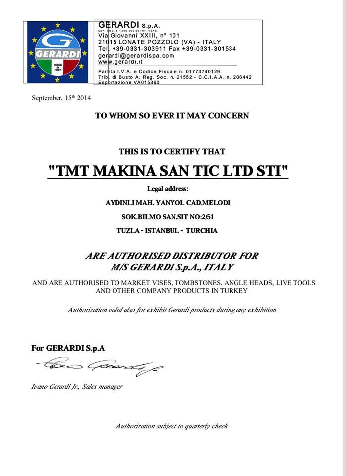 TMT Makine Gerardi Türkiye Distribütörü